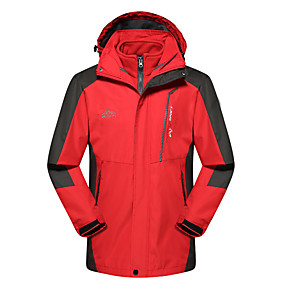 cheap Camping, Hiking & Backpacking-Men's Hiking Jacket Hiking 3-in-1 Jackets Ski Jacket Winter Outdoor Waterproof Windproof Warm Breathable 3-in-1 Jacket Ventilation Zip Camping / Hiking Hunting Ski / Snowboard Black Red Army Green