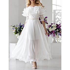 preiswerte Damenbekleidung-Damen Elegant Swing Kleid - Spitze Rüsche, Solide Maxi Schulterfrei Bateau