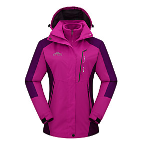 cheap Camping, Hiking & Backpacking-Women's Hiking Jacket Hiking 3-in-1 Jackets Ski Jacket Winter Outdoor Waterproof Windproof Breathable Warm 3-in-1 Jacket Ventilation Zip Hunting Ski / Snowboard Climbing Purple Red Rose Red