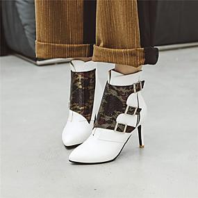 billige Mote Boots-Dame Støvler Stiletthæl Spisstå Spenne Fuskelær Ankelstøvler Fritid / Britisk Vinter Hvit / Svart / Gul / Bryllup / Fest / aften / Fargeblokk