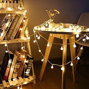 povoljno Svjetlosne trake i žice-10m Žice sa svjetlima 80 LED diode 1set Toplo bijelo Božićni vjenčani ukrasi AA baterije su pogonjene / IP44
