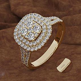 preiswerte Gravierte Ringe-Personalisiert Angepasst Blau Kubikzirkonia Ring Klassisch Geschenk Versprechen Festival Geometrische Form 1pcs Gold Silber