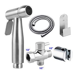 preiswerte Renovierung-g1 / 2 edelstahl toilette handheld shattaf set bidet sprayer duschkopf balkon reinigungszubehör duscharmatur muslim duschkopf