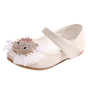 preiswerte Schuhe für das Blumenmädchen-Mädchen Komfort / Schuhe für das Blumenmädchen Mikrofaser Flache Schuhe Kleinkind (9m-4ys) / Kleine Kinder (4-7 Jahre) Schleife Leicht Rosa / Elfenbein Frühling / Herbst / Party & Festivität / Gummi