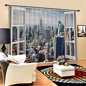 cheap Curtains & Drapes-3D Print Privacy Two Panels Curtain Living Room   Curtains