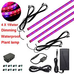 preiswerte LED Pflanzenlampe-zdm 4x1m 36w verdunkelnde geführte Botanik wachsen Lichtstreifen mit rotem blauem Spektrum für wachsen Regalgewächshausanlage und Adapter 12v 3a
