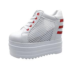 voordelige Damessneakers-Dames Sneakers Verborgen hiel Ronde Teen Canvas Zomer Zwart / Wit