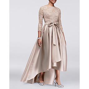 Недорогие Распродажа-платье трапециевидной формы для матери невесты сексуальное платье больших размеров с вырезом из драгоценного камня, асимметричное кружево, атлас, рукав длиной 3/4 с аппликациями из ленты / ленты, 2020