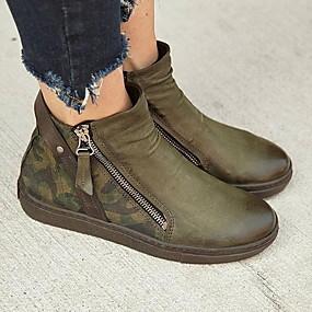 povoljno Cipele i torbe-Žene Čizme Ravna potpetica Okrugli Toe PU Čizme gležnjače / do gležnja Ljeto Zelen