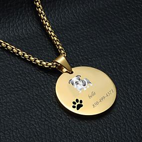 preiswerte Graviertes Haustierzubehör-Personalisiert Angepasst Mops Haustier-Umbauten Klassisch Geschenk Alltag 1pcs Gold Silber