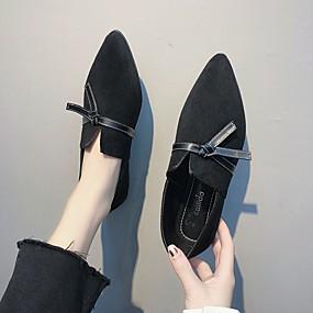 voordelige Damesschoenen met platte hak-Dames Platte schoenen Platte hak Gepuntte Teen Strik Rubber Klassiek Lente & Herfst Zwart / Khaki