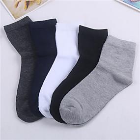 preiswerte Socken-5 Paare Herrn Socken Mittel Solide warm halten / Antibakteriell Simple Style Elasthan / Polyester / Baumwolle EU36-EU46