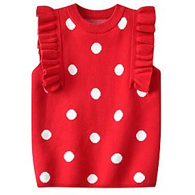 preiswerte Pullover-Baby Mädchen Aktiv / Grundlegend Punkt Gitter Ärmellos Pullover & Cardigan Leicht Blau