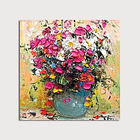 povoljno Slike za cvjetnim/biljnim motivima-ručno oslikana platna uljanim bojama apstraktno debelo cvijeće uljem u vazi nožem uređenje doma s okvirom slika spremna za vješanje