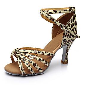 preiswerte Tanzschuhe-Damen Tanzschuhe Lackleder Schuhe für den lateinamerikanischen Tanz Absätze Schlanke High Heel Maßfertigung Leopard / Leistung