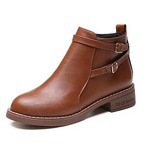 billige Mote Boots-Dame Støvler Tykk hæl Rund Tå Spenne PU Ankelstøvler Britisk Gange Vår sommer / Høst vinter Svart / Brun