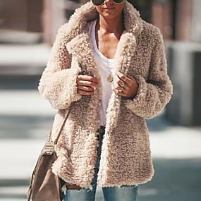 Недорогие Распродажа-Жен. Лацкан с тупым углом Зима Пальто Обычная Однотонный Повседневные Черный Розовый Зеленый S M L