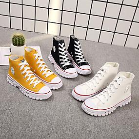 voordelige Damessneakers-Dames Sneakers Platte hak Ronde Teen Kanten stiksel Canvas minimalisme Wandelen Lente zomer Zwart / Wit / zilver / Geel