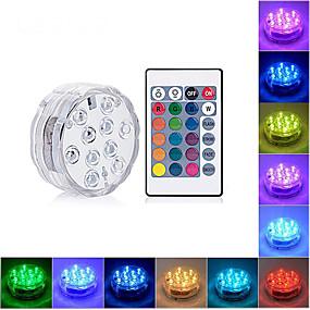 preiswerte Unterwasser Lampen-LOENDE 1pc 4 W Unterwasserleuchten Wasserfest RGB 4.5 V / Batterien angetrieben 10 LED-Perlen