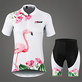 cheap Cycling & Motorcycling-21Grams Women's Short Sleeve Cycling Jersey with Shorts White Flamingo Floral Botanical Bike Clothing Suit Mountain Bike MTB Road Bike Cycling Breathable 3D Pad Moisture Wicking Sports 100% Polyester