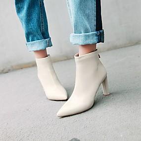 billige Mote Boots-Dame Støvler Tykk hæl Spisstå Fuskelær / Lakklær Ankelstøvler Fritid Høst vinter Svart / Mandel / Beige