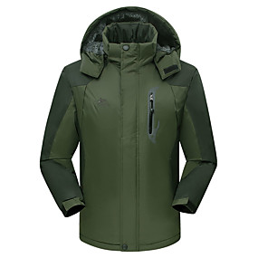cheap Camping, Hiking & Backpacking-Men's Hiking Jacket Ski Jacket Autumn / Fall Winter Outdoor Solid Color Waterproof Windproof Warm Front Zipper Winter Jacket Single Slider Camping / Hiking Hunting Ski / Snowboard Black Red Army Green