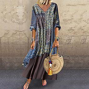 preiswerte Damenbekleidung-Damen Übergrössen Baumwolle Lose Chiffon Kleid - Druck Maxi V-Ausschnitt