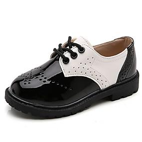 ราคาถูก Kids' Oxfords-เด็กผู้ชาย ความสะดวกสบาย PU รองเท้า Oxfords Big Kids (7 ปี +) ขาว / สีดำ ฤดูใบไม้ผลิ