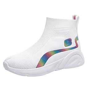 voordelige Damessneakers-Dames Sneakers Platte hak Ronde Teen Tricot / Tissage Volant Sportief / Informeel Hardlopen / Wandelen Lente zomer / Herfst winter Zwart / Wit
