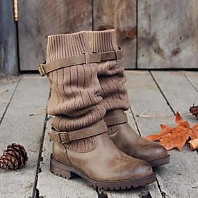 billige Mote Boots-Dame Støvler Tykk hæl Rund Tå Spenne Lerret Støvletter Vinter Svart / Grå / Kakifarget