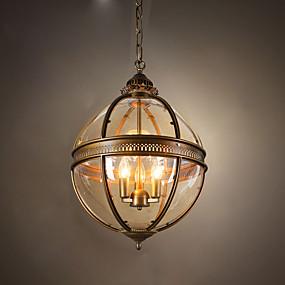 cheap Lantern Design-Ecolight™ 3-Light 45 cm Pendant Light Metal Glass Globe Anodized Rustic / Lodge 110-120V / 220-240V
