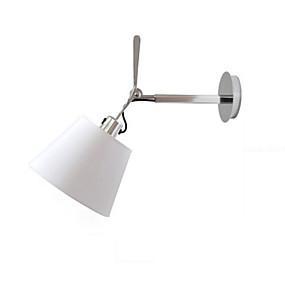 preiswerte Schwenkarm-Lampen-wandleuchte moderne einfache aluminium wandleuchten stoffschirm kopf verstellbar schlafzimmer leselampe nachtlicht mit griff weiß