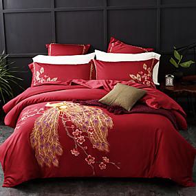preiswerte Feste Duvet Covers-Bettbezug-Sets Solide / Blumen / Pflanzen 100% Ägyptische Baumwolle Reaktivdruck / Stickerei / Gesteppt 4 StückBedding Sets