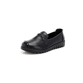 voordelige Damesinstappers & loafers-Dames Loafers & Slip-Ons Lage hak Ronde Teen Nappaleer Informeel / minimalisme Lente & Herfst Zwart