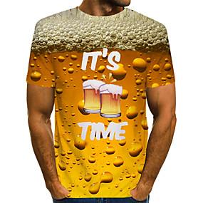 preiswerte Herrenmode-Herrn Glatt - Grundlegend T-shirt, Rundhalsausschnitt Gelb / Kurzarm