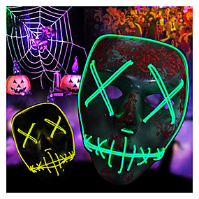 cheap Décor & Night Lights-Halloween Scary Mask Costumes LED Light up Mask Cosplay Glowing Party Masque Masquerade Mask Costume 3 Lighting Modes for Men Women Baby Costumes