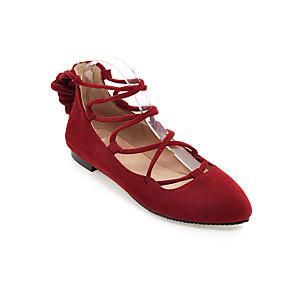 voordelige Damesschoenen met platte hak-Dames Platte schoenen Platte hak Ronde Teen Synthetisch Zoet Lente zomer Zwart / Bruin / Rood