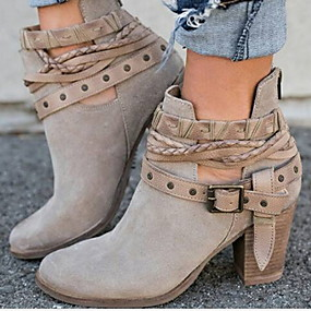 cheap Top Sellers-Women's Boots Chunky Heel Round Toe Buckle PU(Polyurethane) Booties / Ankle Boots Spring &  Fall Black / Red / Gray