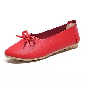 voordelige Damesschoenen met platte hak-Dames Platte schoenen Platte hak Ronde Teen Strik PU Klassiek / minimalisme Lente zomer / Herfst winter Zwart / Wit / Rood