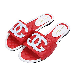 cheap Fashion Slippers-Women's Slippers & Flip-Flops Flat Heel Round Toe Faux Leather Summer Black / White / Red