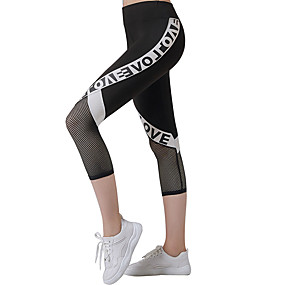 cheap Yoga & Fitness-Women's Yoga Pants Fashion Gold Mesh Running Fitness Gym Workout 3/4 Tights Activewear Breathable Moisture Wicking Quick Dry Butt Lift High Elasticity Skinny