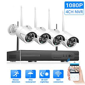 abordables Sistemas de Seguridad-cámara inalámbrica set 4 canales nvr sistema wifi kit cámara de red grabadora cámara ip 1080p ip66 a prueba de agua h.265 día / noche cámara de monitor de seguridad
