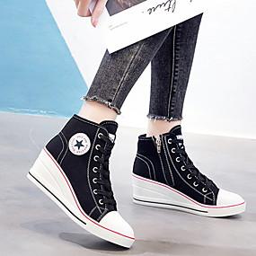 voordelige Damesschoenen met platte hak-Dames Platte schoenen Verborgen hiel Ronde Teen Canvas Informeel Zomer Zwart / Wit / Marine Blauw