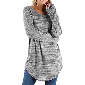 cheap Athleisure Wear-Women's Sweatshirt Pullover Artistic Style Crew Neck Stripes Sport Athleisure Sweatshirt Top Long Sleeve Warm Soft Comfortable Everyday Use Daily Exercising / Winter