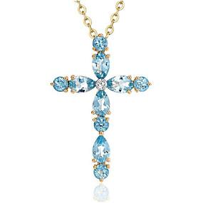 preiswerte Schmuck & Armbanduhren-Damen Blau Synthetischer Saphir Pendant Halskette Geometrisch Kreuz Modisch Titanstahl Hellblau 40+5 cm Modische Halsketten Schmuck 1pc Für Alltag Arbeit