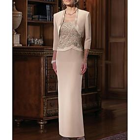 Недорогие Распродажа-платье-футляр для матери невесты элегантное платье большого размера с прямым вырезом в пол, шифон, атлас, без рукавов, с аппликациями из ленты или ленты, 2020 платья для матери жениха