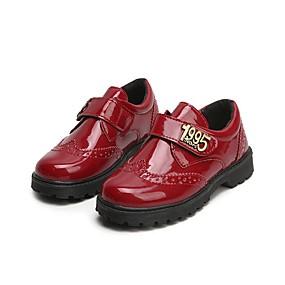 ราคาถูก Kids' Oxfords-เด็กผู้ชาย ความสะดวกสบาย PU รองเท้า Oxfords เด็กน้อย (4-7ys) สีดำ / แดง ฤดูร้อน