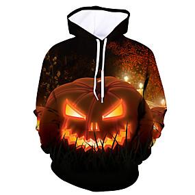 preiswerte Modische Kleidung-Herrn Aktiv / Halloween Kapuzenshirt Einfarbig / Totenkopf Motiv