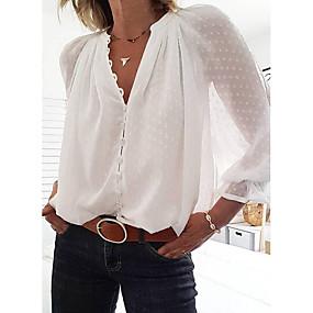 preiswerte Damenbekleidung-Damen Solide - Street Schick Bluse, V-Ausschnitt Weiß
