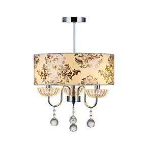 "cheap Ceiling Lights & Fans-1-Light 40(16"") Crystal Chandelier Fabric Drum Electroplated Modern Contemporary 110-120V / 220-240V"